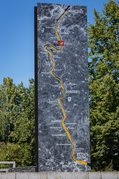 A 15-foot high map of the Rhine. Our ship went to Koblenz and then turned left onto the Mosel. We biked along this stretch of the river.