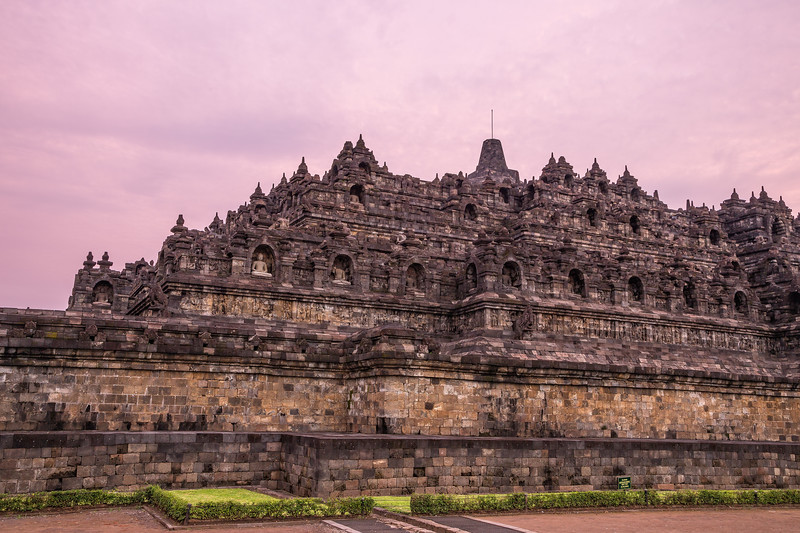 Borobudur Temple at sundown. The Temple is the largest Buddhist structure on earth.