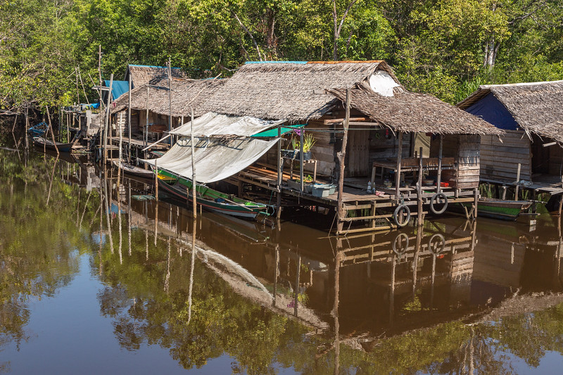 Some river people build their homes on the water.