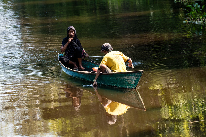 The river is an easy, accessible way to travel in this dense jungle.