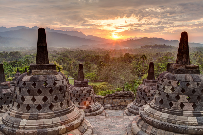 A view of the stone bells from the top of Borobudur Temple.