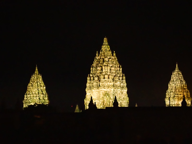Prambanan Temple in the background to a local theater.