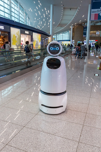 This robot, called AirStar, helps passengers find their way around the airport and will lead them to their gate. Wow.
