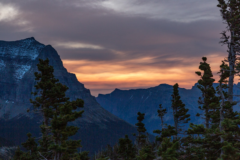 From Logan Pass, the top of the Continental Divide, via the Going-to-the-Sun highway, we watched a new day be born.