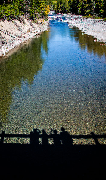 Our first stop in Glacier was along McDonald Creek where we watched our shadowss from the bridge.
