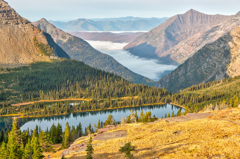 More of Hidden Lake with heavy fog in the valley.