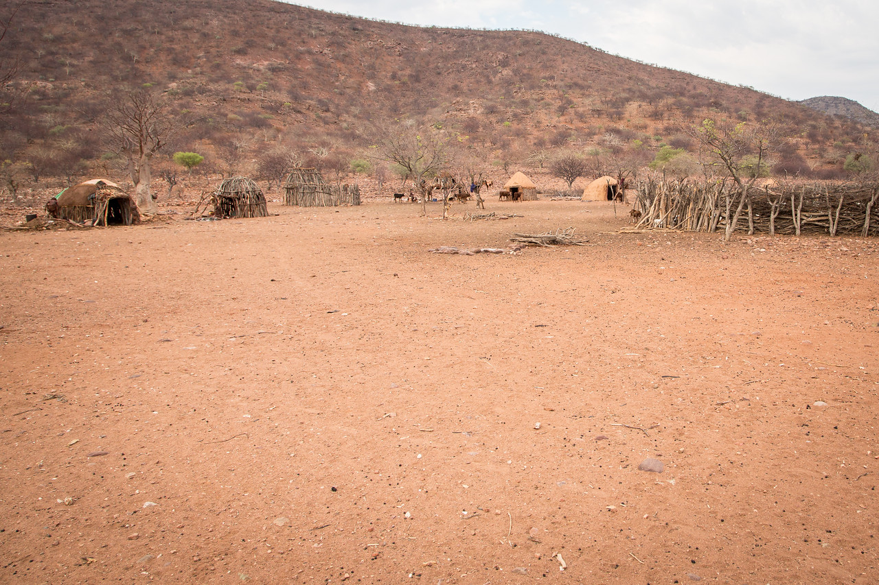A village consists of one extended family with huts on the outside of a center corral for the goats and cattle