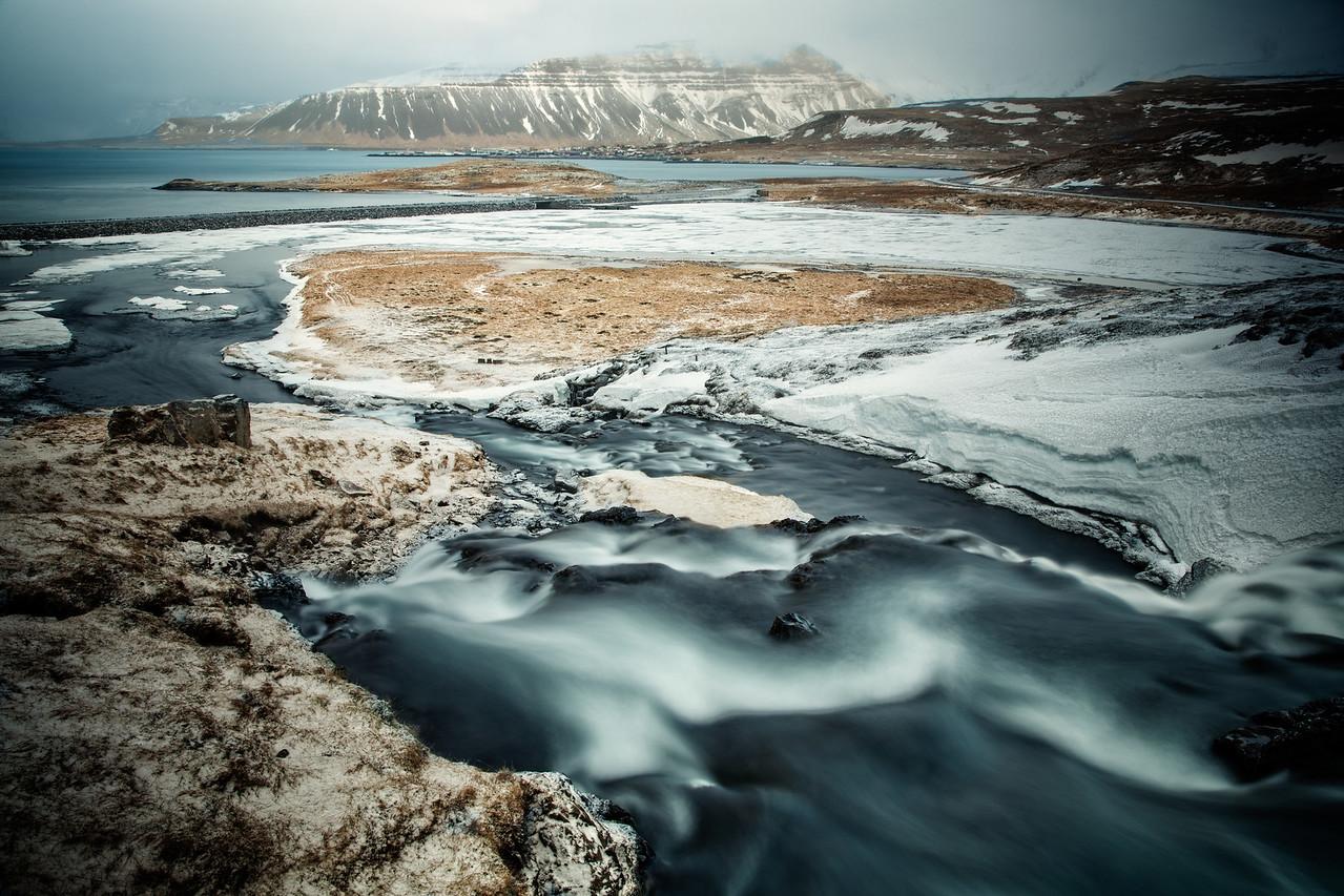 Looking downstream from the Kirkjufellsfossi Falls