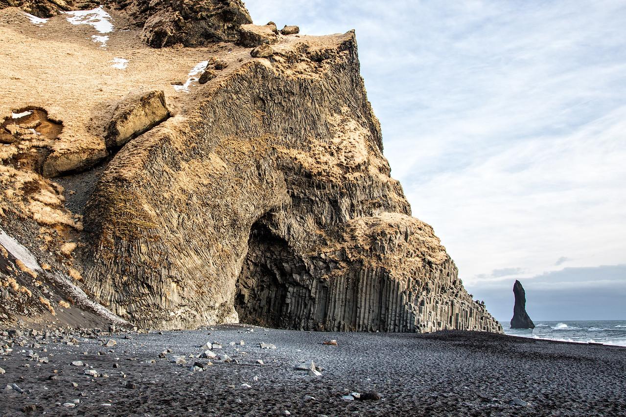 Basalt rock and sea stack on Reynisfjara Beach