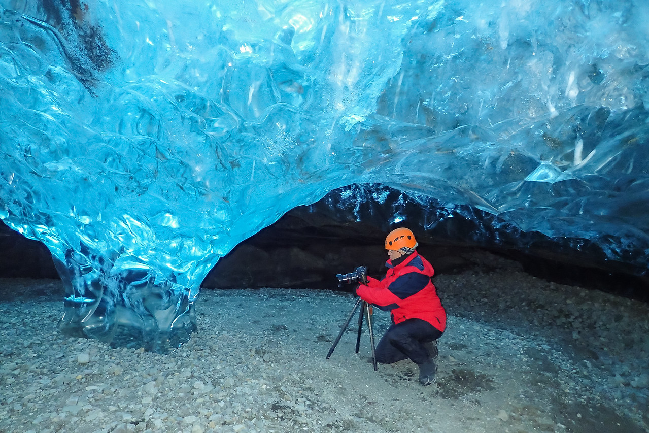 Julie photographing the ice