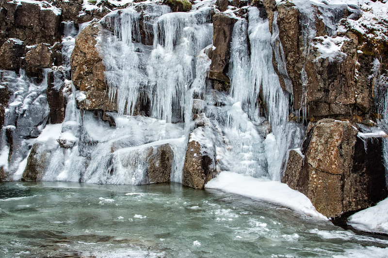 Small frozen waterfall