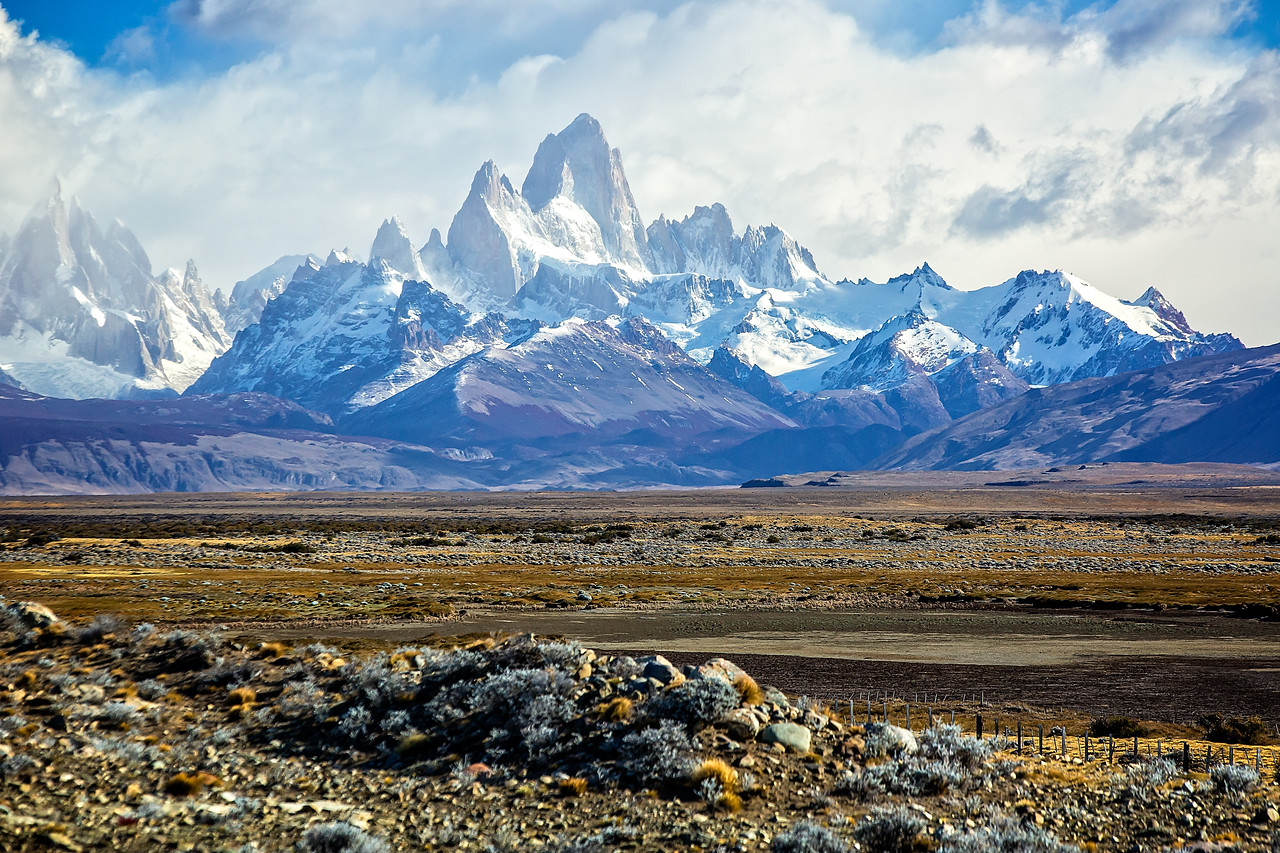 We traveled another 5 miles and stopped again to photograph Fitz Roy. Our guide told us that this was an unusual sight because the mountain is usually covered in clouds.