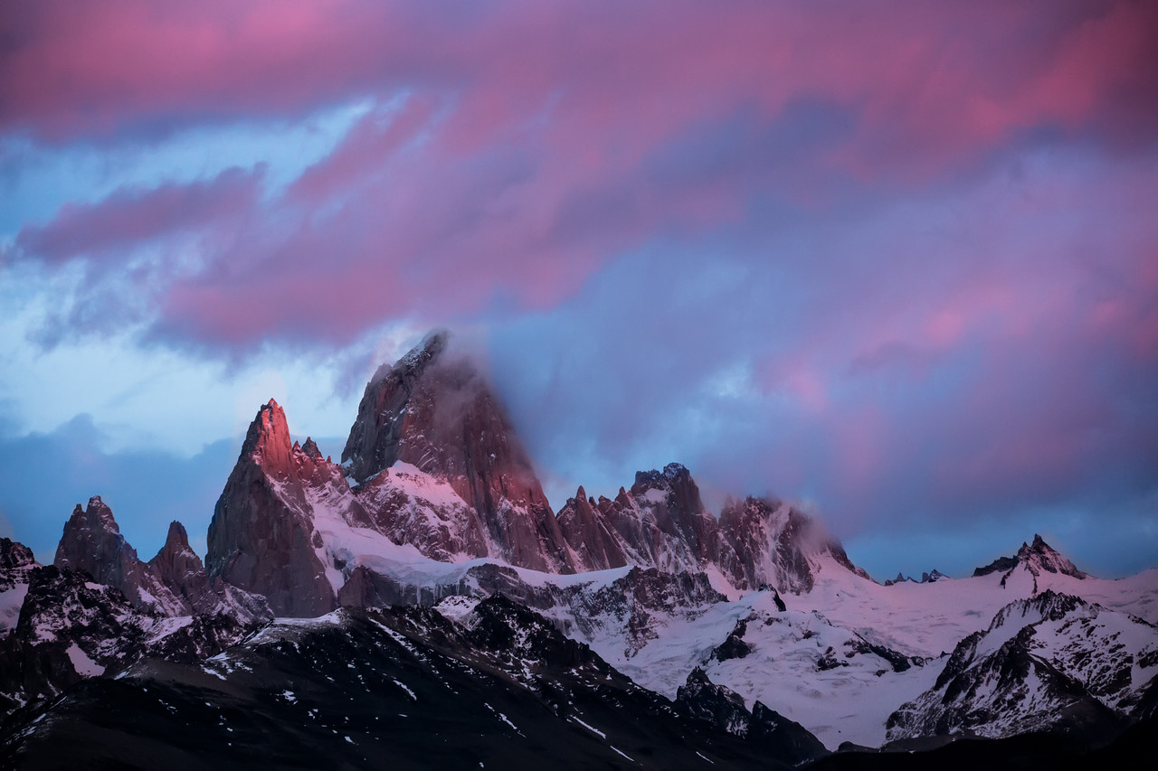 Then the light began to hit the mountain directly. Poincenot, the peak to the left of Fitz Roy, began to glow.
