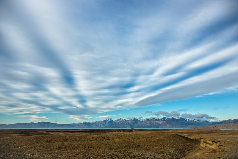Although our attention was nearly totally devoted to Fitz Roy, when we turned to look in the other direction we saw these cirrostratus clouds streaking from the small mountain range to the west.