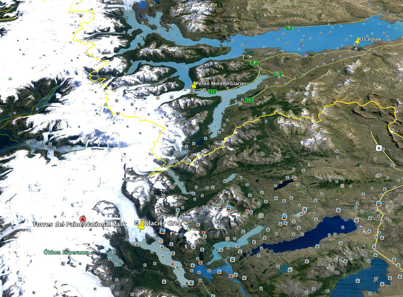 El Calafate is in the upper right of this map. I've marked the two glaciers we've visited adjacent to the southern Icefield.