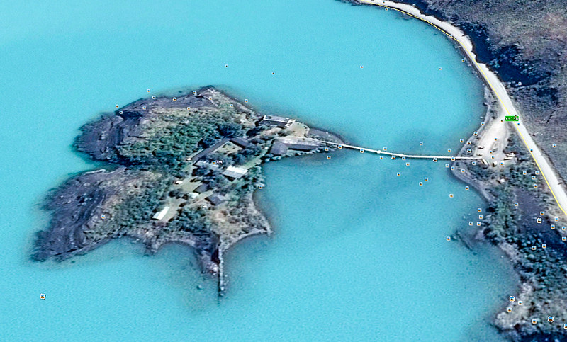 Here's a Google Earth overhead view of the small island and the footbridge to reach the lodge.