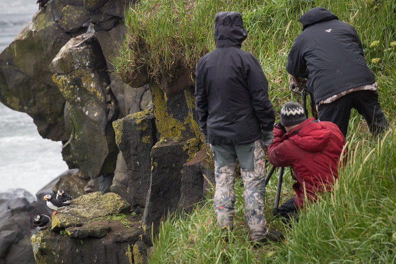 How we got these photos: Here are members of our group standing precariously on a cliff edge.