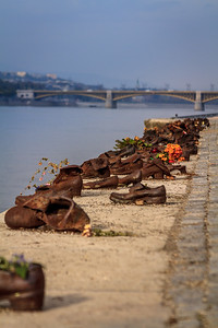A Holocaust victim memorial in Budapest