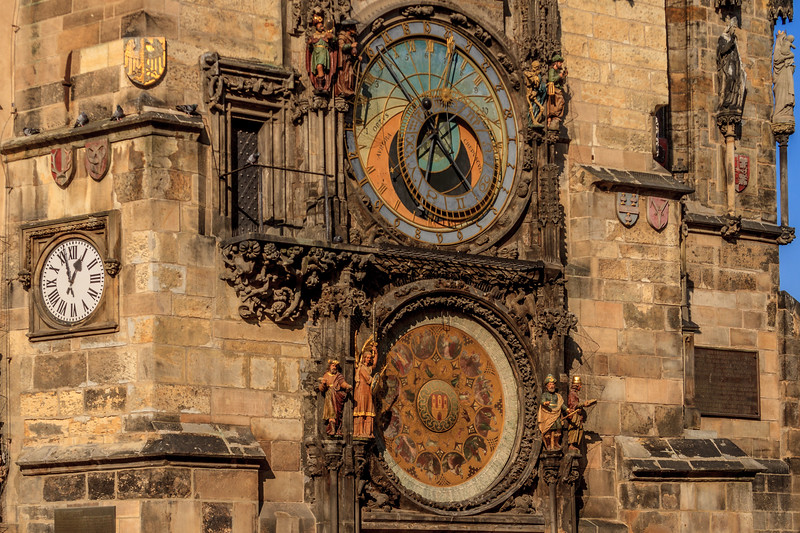 Prague's astronomical clock on thewall of the Old Town City Hall