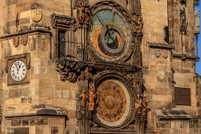 Prague's astronomical clock on the wall of the Old Town City Hall
