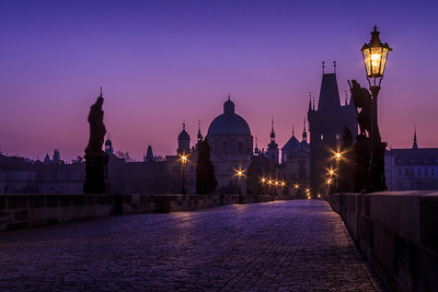 The Charles Bridge just before sunrise