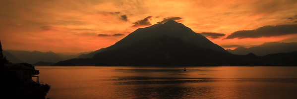Orange sunset over Lake Como