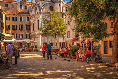 A small, shady campo in the Cannaregio District of Venice, Italy.