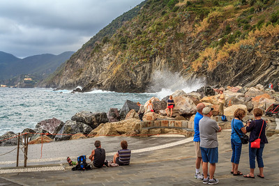 Other tourists at the Vernazza harbor