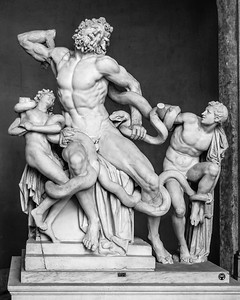The Laocoon Group in the Vatican Museum, Rome.