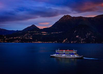Pre-dawn ferry from Varenna toward Belagio