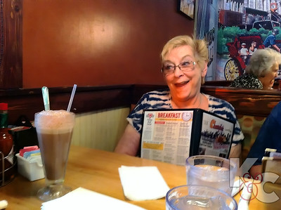 Bunny eyes her egg cream at Chompies