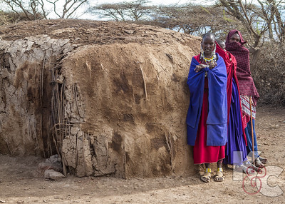 Maasai Women Next to Hut