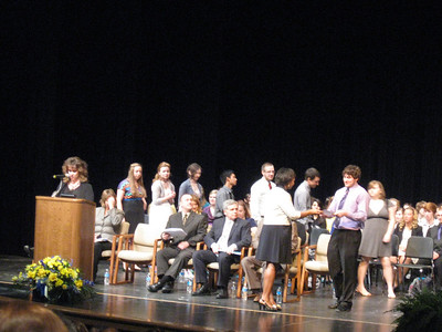 Tinley Park High School Principal Theresa Zielinski introduces the Top 10 percent of students from Tinley Park High School.