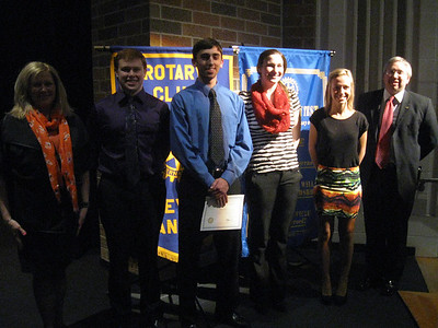 Tinley Park-Frankfort Rotary Club President Margaret Semmer (far left) and treasurer Sean Brady (far right) presented $500 scholarships to Andrew High School senior Michael Stouffer, Lincoln-Way East senior Gregory Jennrich, Lincoln-Way North senior Samantha Klosak and Tinley Park senior Nicole Pavlick during the Club's 23rd Annual Top Ten Gala.