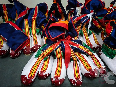 Colorful Boots Sewn at Traditional Art School