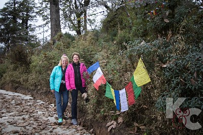 Helaine & Ros Place Their Prayer Flags at Dochu La Pass