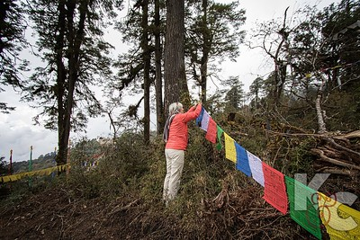 Placing Our Prayer Flags at Dochu La Pass