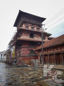 Building Supported By Scaffolding in Durbar Square Kathmandu