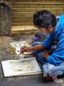 Art Student Practicing in Courtyard of Golden Temple