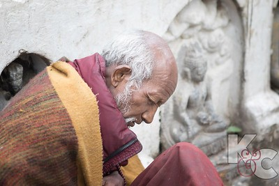 Deep in Prayer at Monkey Temple Shrine