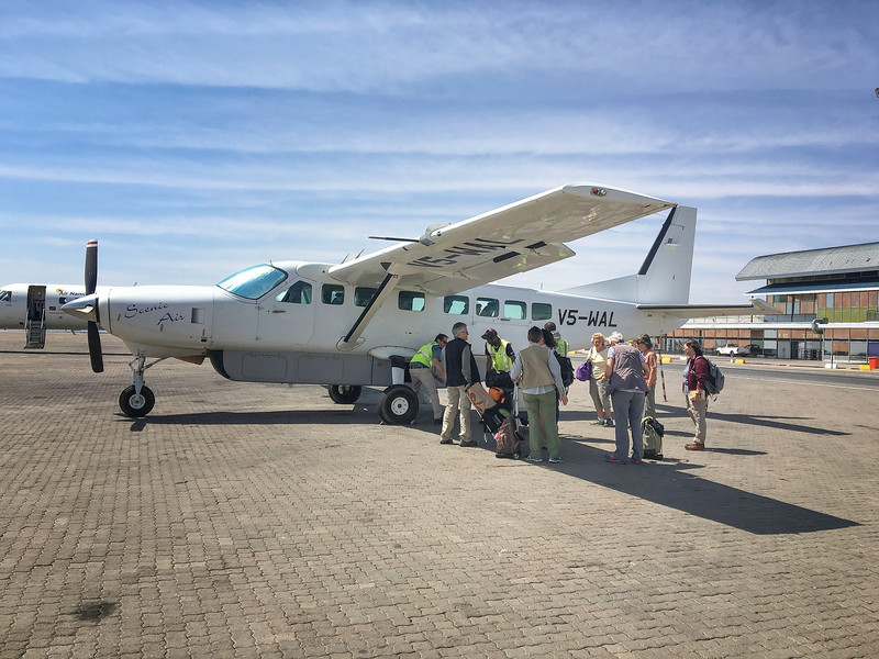 Boarding Our First Light Aircraft Plane In Namibia