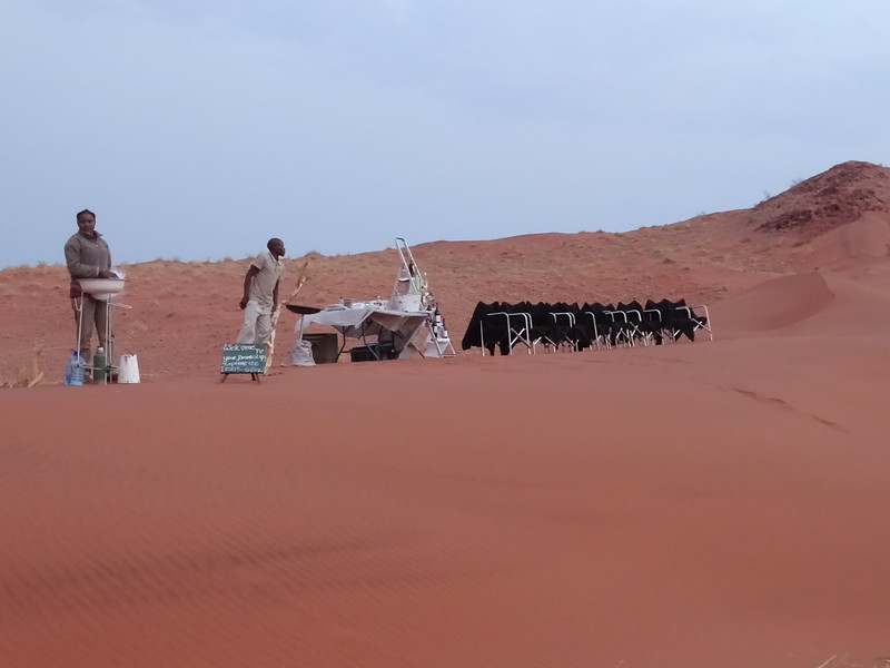 Our Sundowner Set Up On The Dunes With Ponchos Draped On Our Chairs