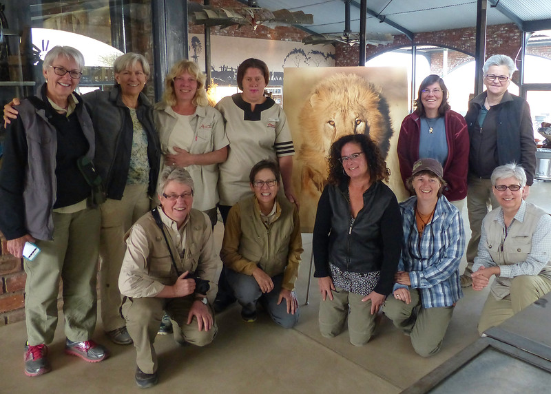 Our Group at Okonjima Plains Camp with Marilyn, Our Special Server