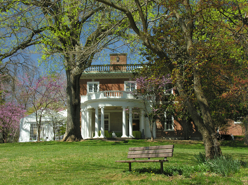 Portico & east lawn in spring<br /> Woodend Sanctuary, Chevy Chase, MD