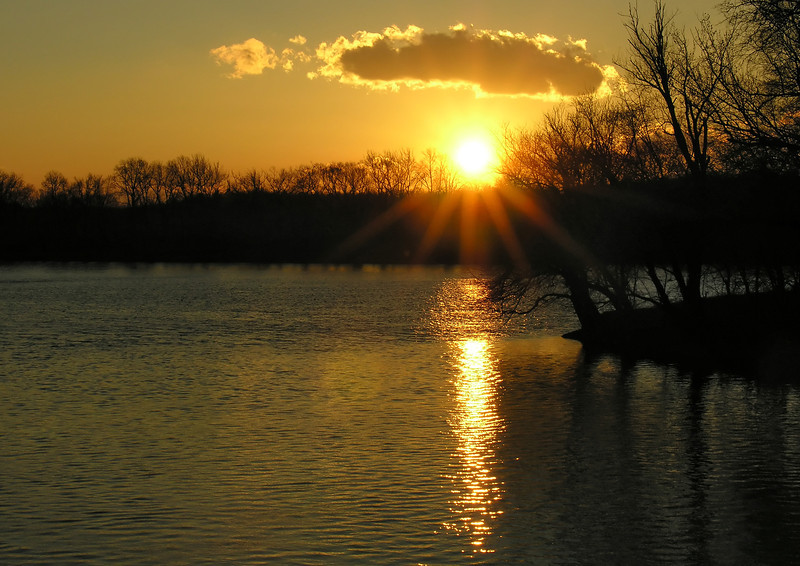 Potomac sunset at mouth of Monocacy River<br /> Western Montgomery County, MD