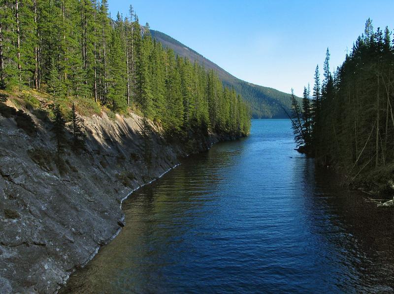 Cascade River flowing through Stewart Canyon into Lake Minnewanka<br /> Banff National Park, Alberta, Canada
