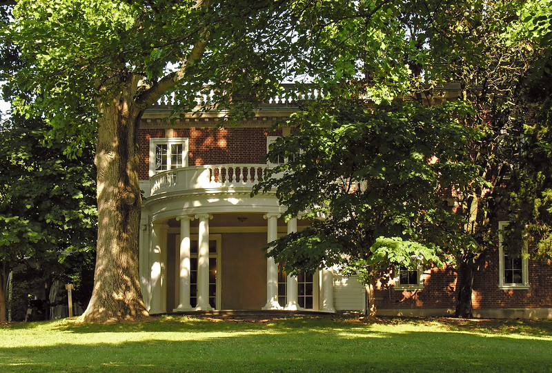 Portico in summer<br /> Woodend Sanctuary, Chevy Chase, MD