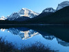 Rockies reflecting in lake at sunset<br /> Banff National Park, Alberta, Canada