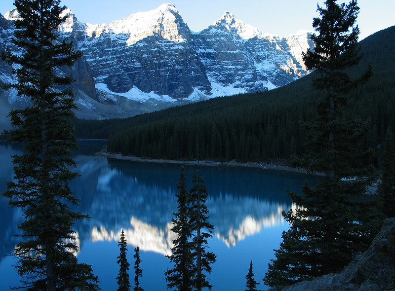 Sunrise on Mountains of the Valley of the Ten Peaks reflecting in Moraine Lake<br /> Banff National Park, Alberta, Canada