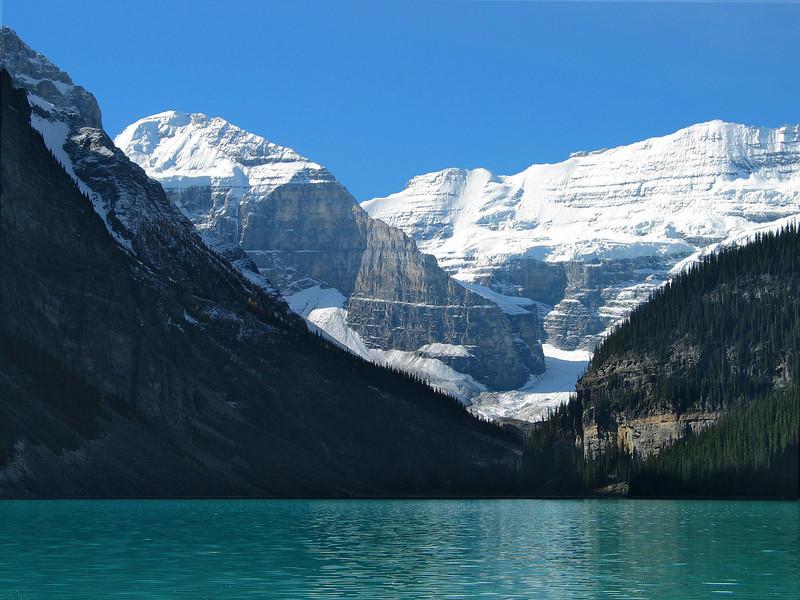 Mount Victoria glacier at Lake Louise<br /> Banff National Park, Alberta, Canada